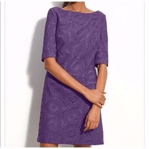 Adrianna Papell Purple Lace Boatneck Shift Dress
